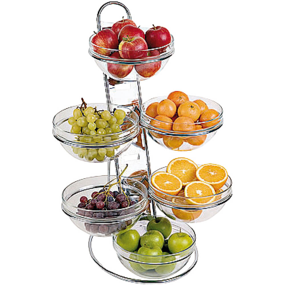 """Clear, Chrome Steel Four-tier Ladder and Large Bowl Set, 15.38"""""""