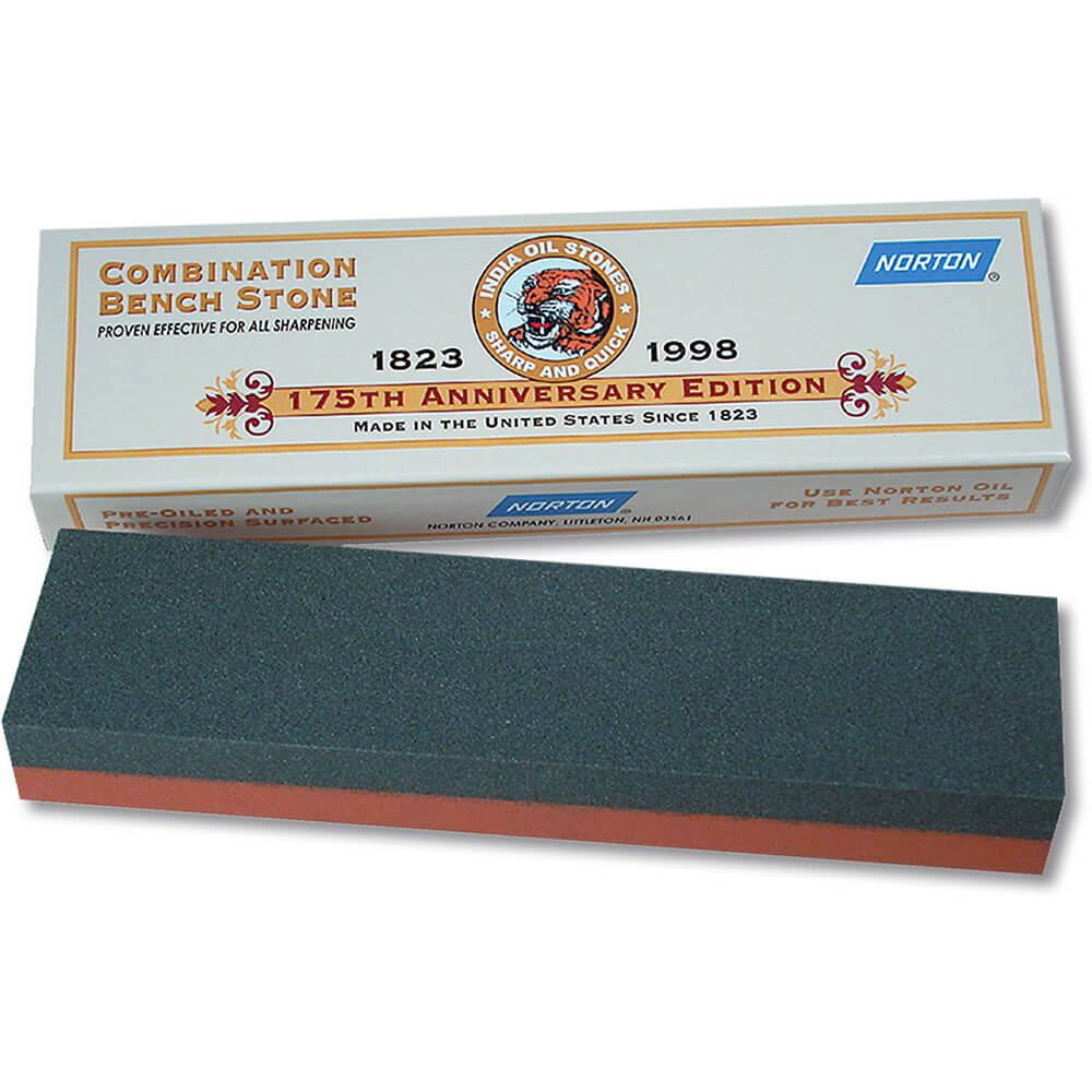 "8"" x 2"" x 1"" Combination Sharpening Stone, Fine and Coarse, IB8 India Bench"