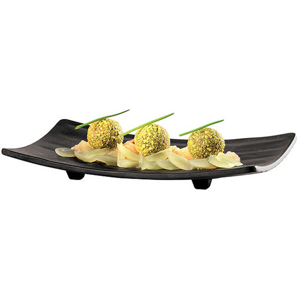 """Black, Melamine Raised Sushi Tray, 8.88"""" X 3.88"""""""