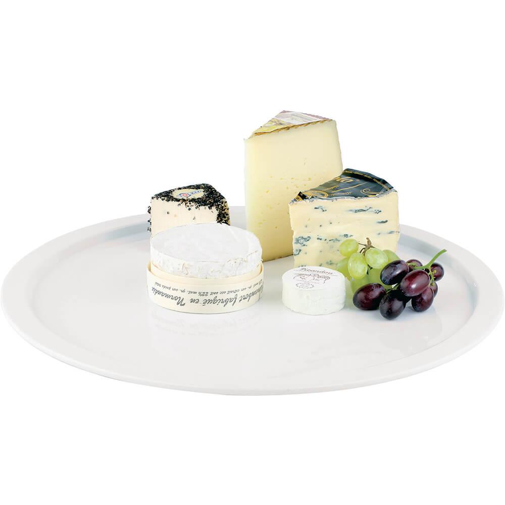 """White, Melamine Round Serving Platter, 15"""""""