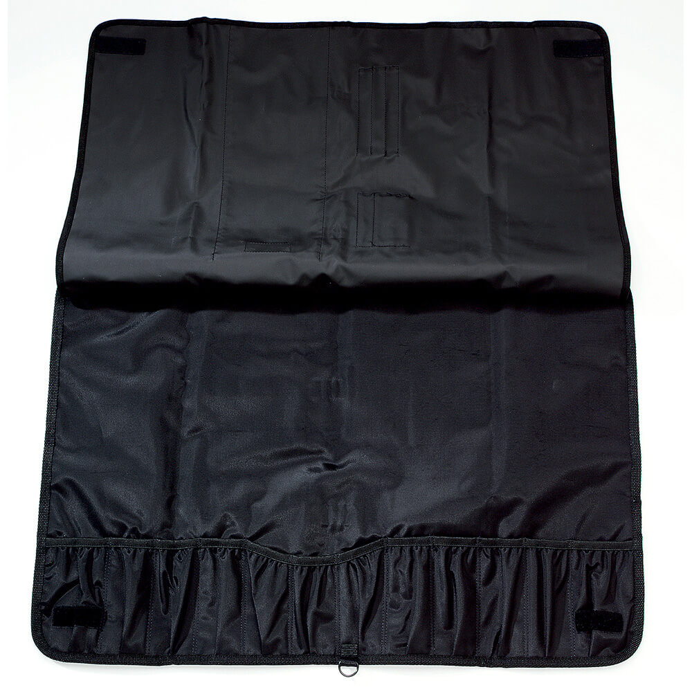 "Soft Knife Roll Case, Black Polyester, Holds Up To 12 Knives 12"" Long"