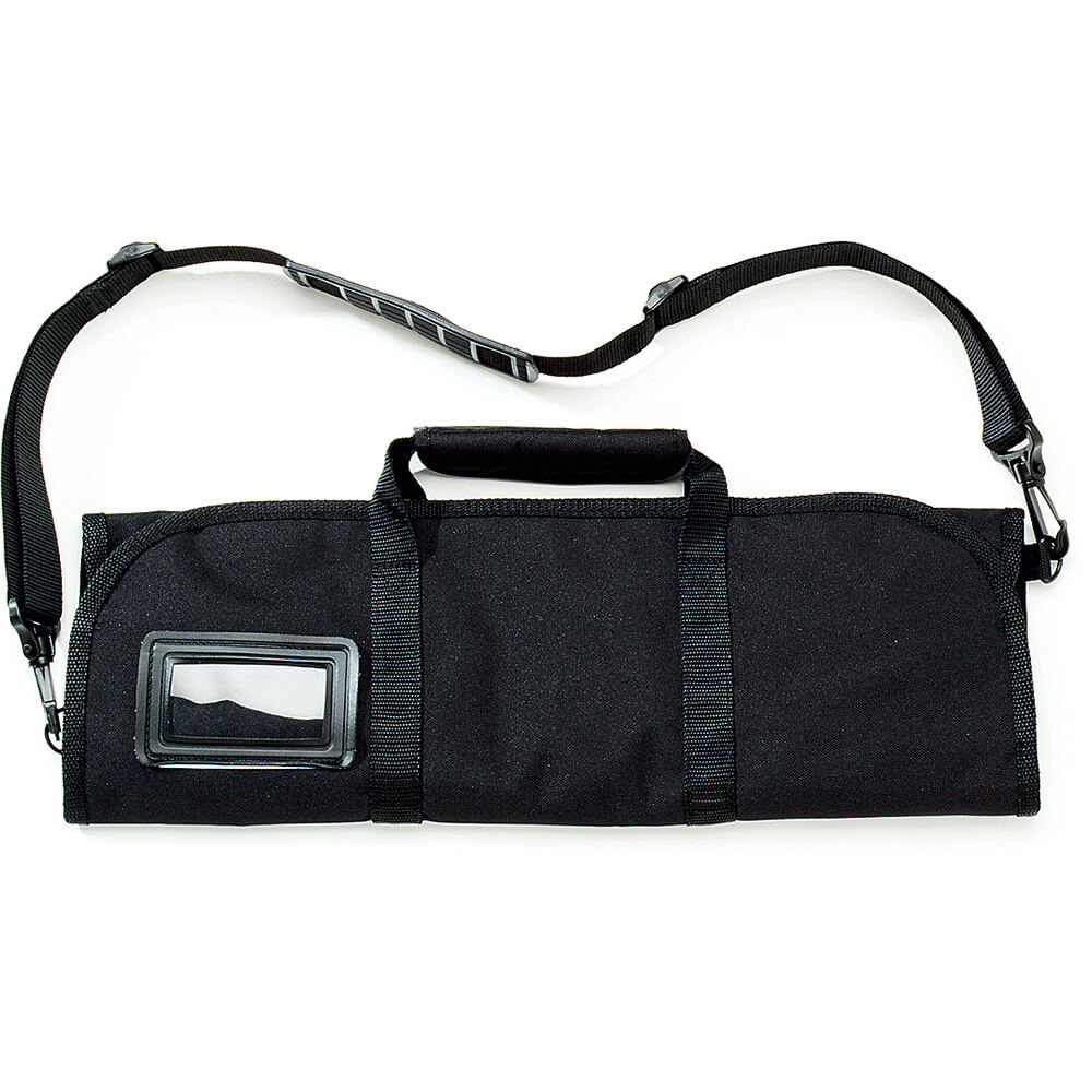 """Black Polyester Knife Roll, Holds Up To (8) 12"""" Knives"""