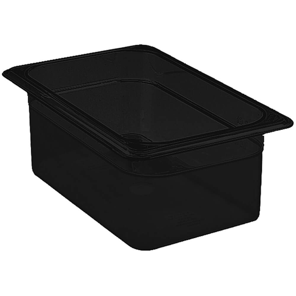"Black, 1/4 GN Food Pan, 4"" Deep, 6/PK"