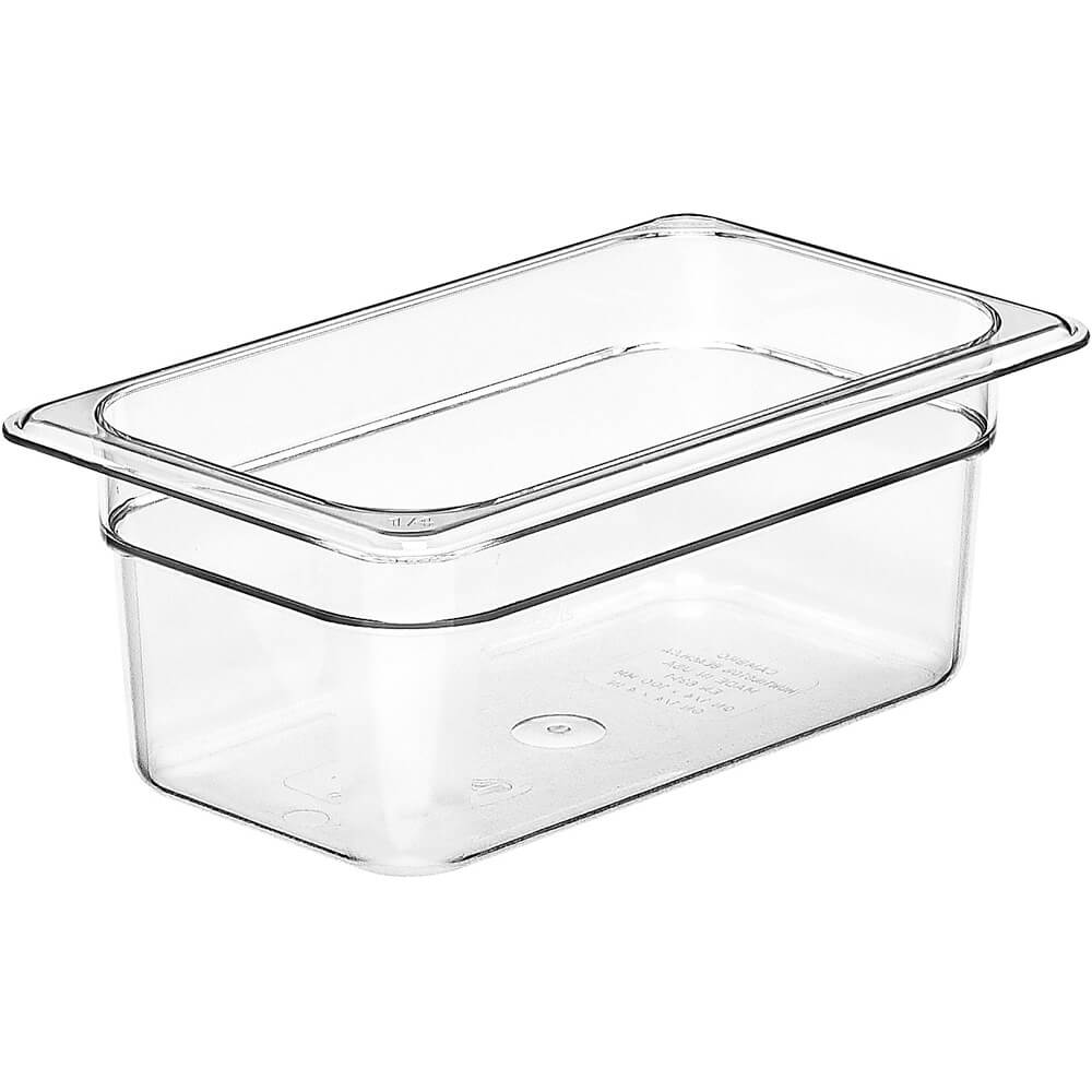 "Clear, 1/4 GN Food Pan, 4"" Deep, 6/PK"