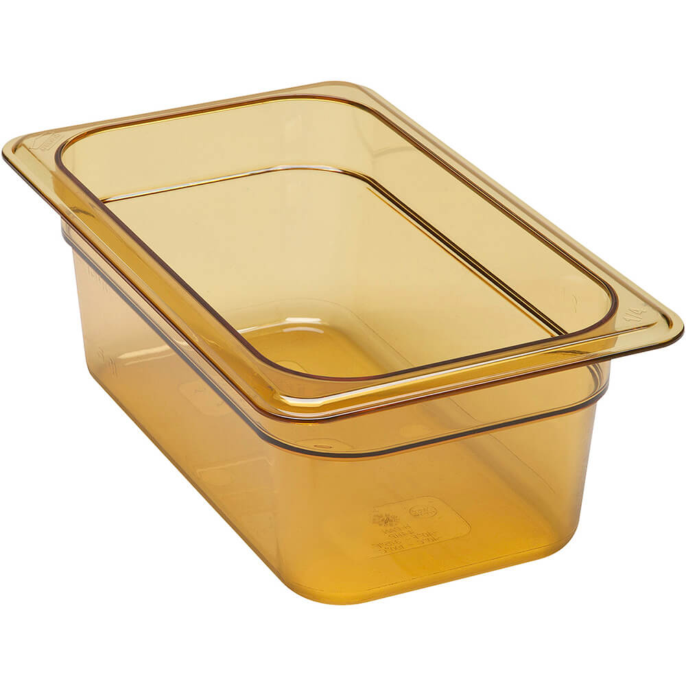 "Amber, 1/4 GN High Heat Food Pan, 4"" Deep, 6/PK"