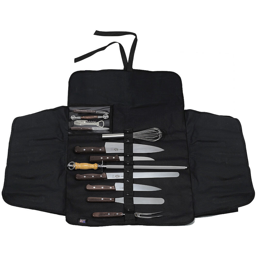 13-piece Culinary Knife Set, Rosewood Handles, With 44955 Canvas Roll