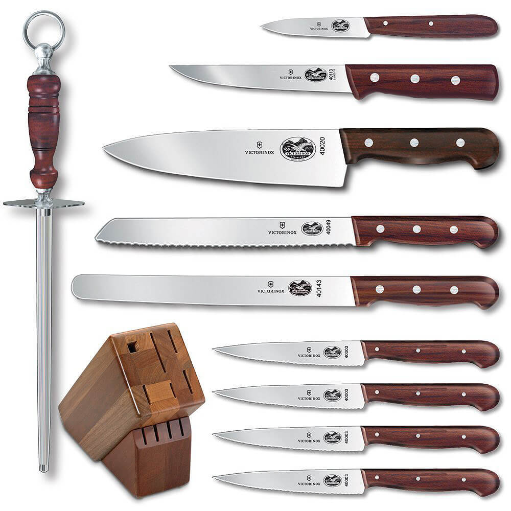 11-piece Knife Set With Oak Block Base, Rosewood Handles View 2