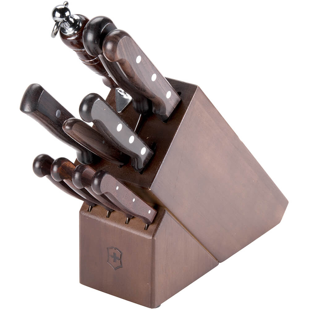 11-piece Knife Set With Oak Block Base, Rosewood Handles