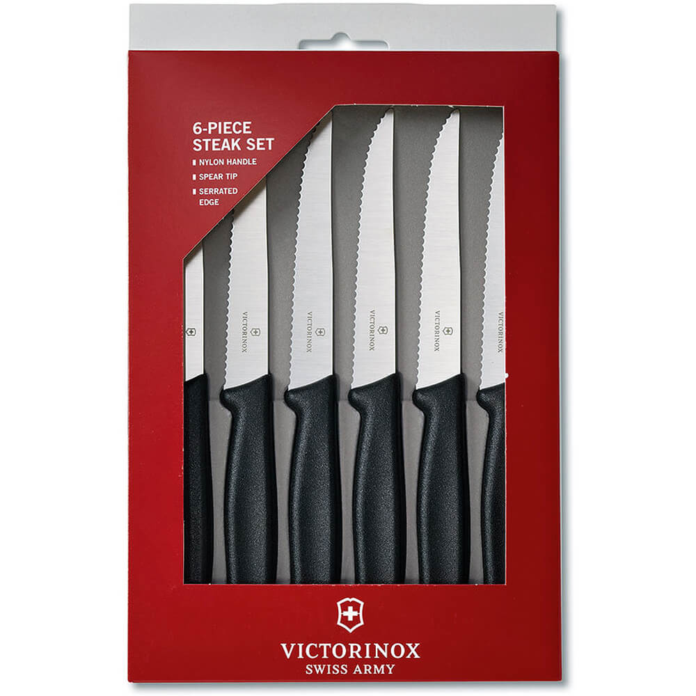 Black, Steak Knife Set, Pointed Tip, Serrated Edge, Poly Handles, 6/PK View 2
