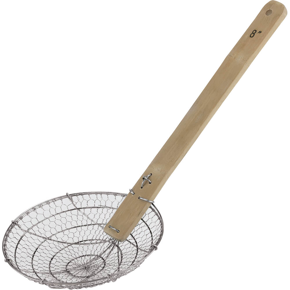 Stainless Steel Asian Style Spider Skimmer Coarse Mesh Wood Handle 7 88