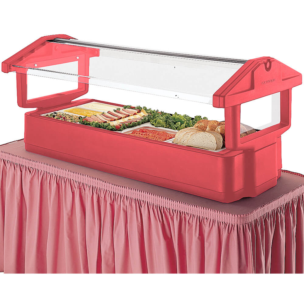 Hot Red, 6ft Table Top Food Bar with Sneeze Guard