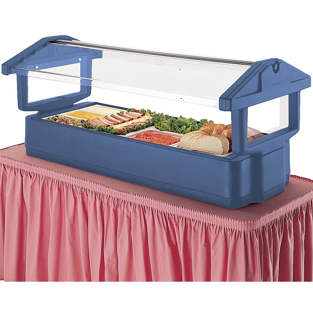 Navy Blue, 5ft Table Top Food Bar with Sneeze Guard