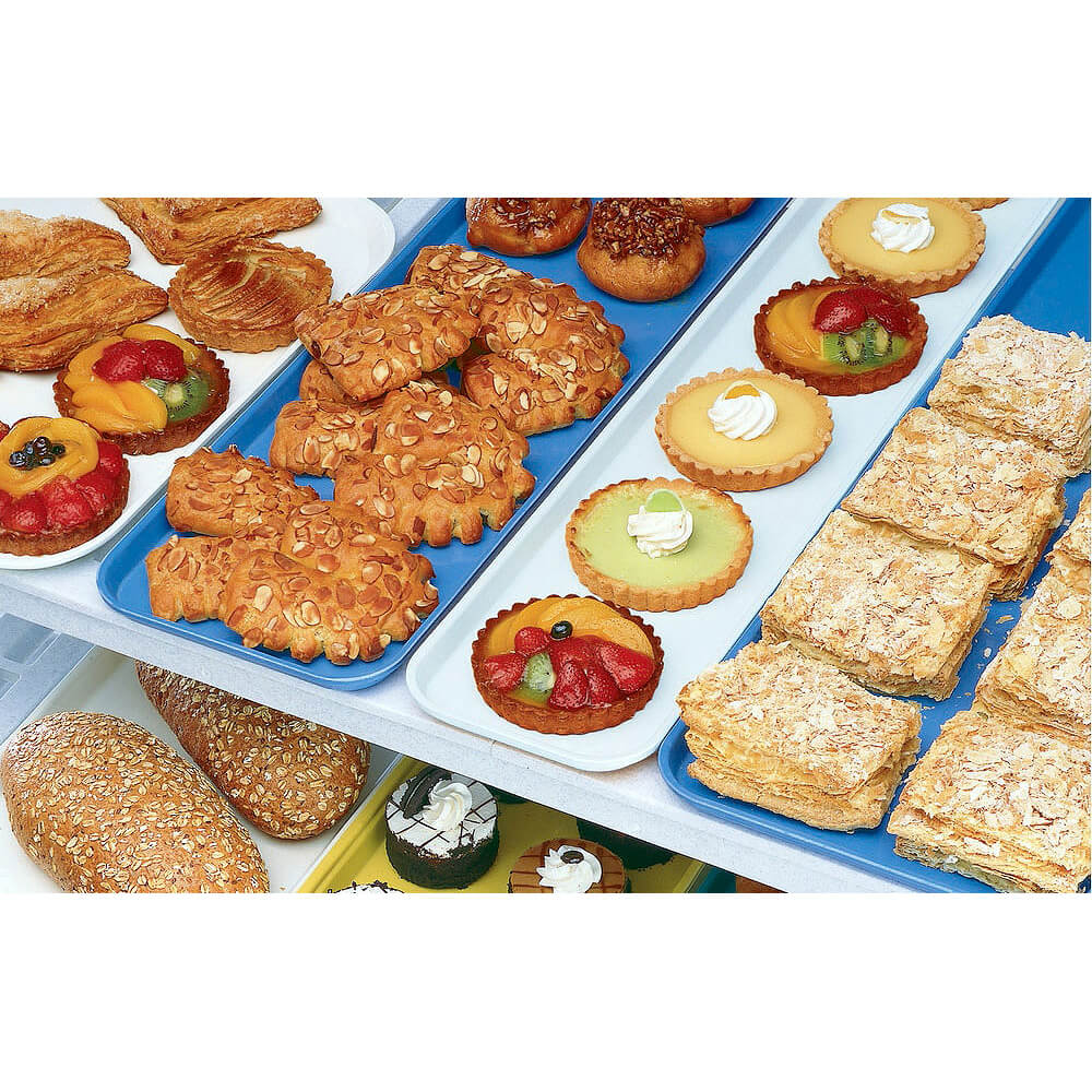 "Blue, 8"" x 26"" x 3/4"" Deli / Bakery Display Trays, 12/PK View 3"