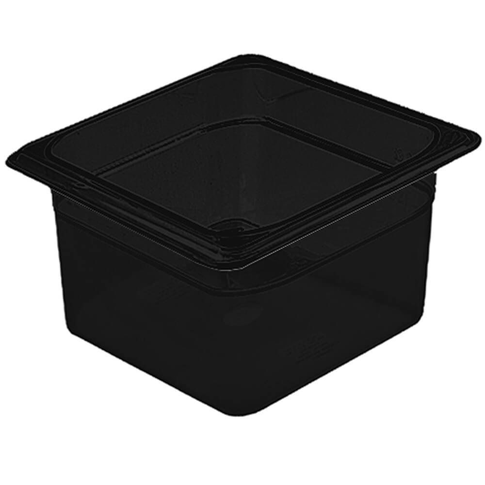 "Black, 1/6 GN High Heat Food Pan, 4"" Deep, 6/PK"