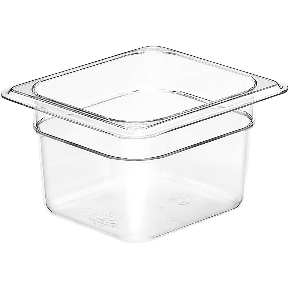"Clear, 1/6 GN Food Pan, 4"" Deep, 6/PK"