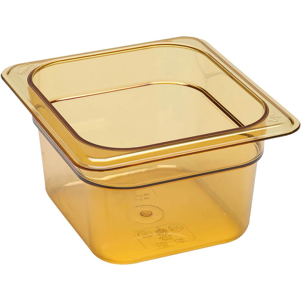 """Amber, 1/6 GN High Heat Food Pan, 4"""" Deep, 6/PK"""