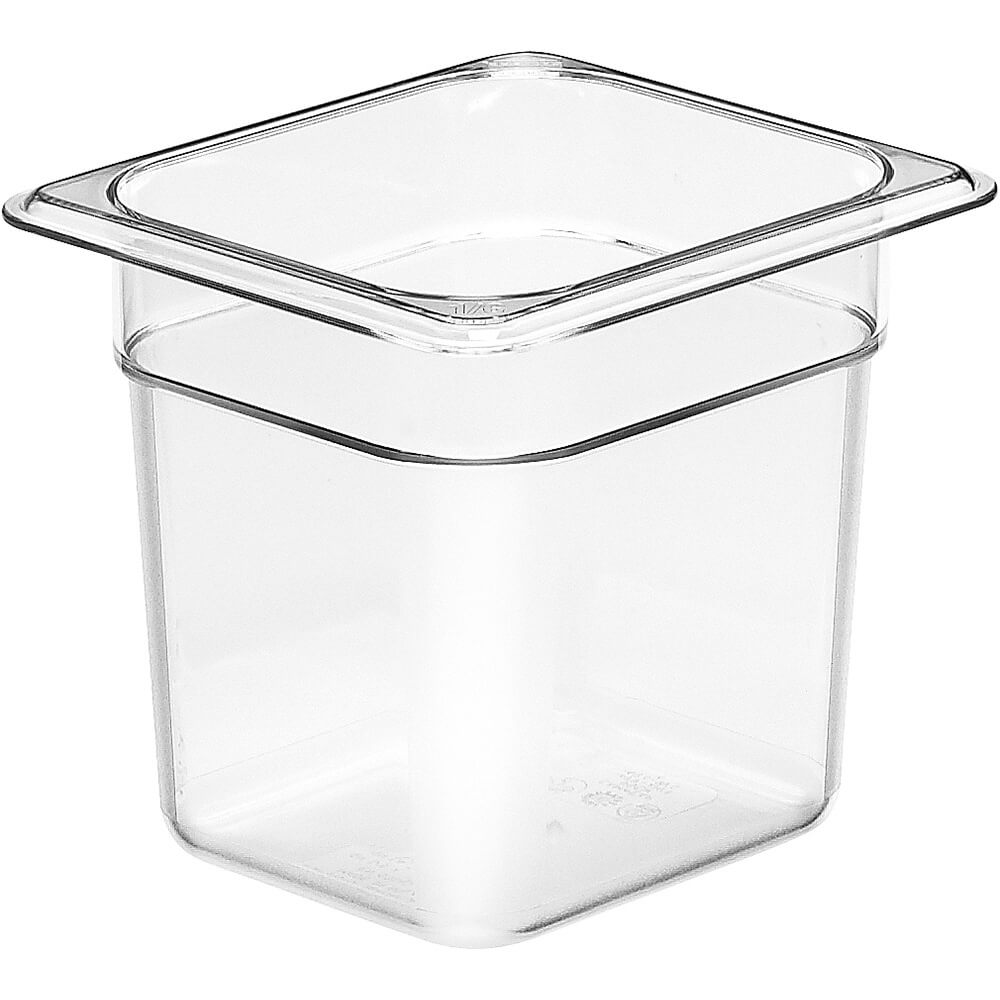 "Clear, 1/6 GN Food Pan, 6"" Deep, 6/PK"