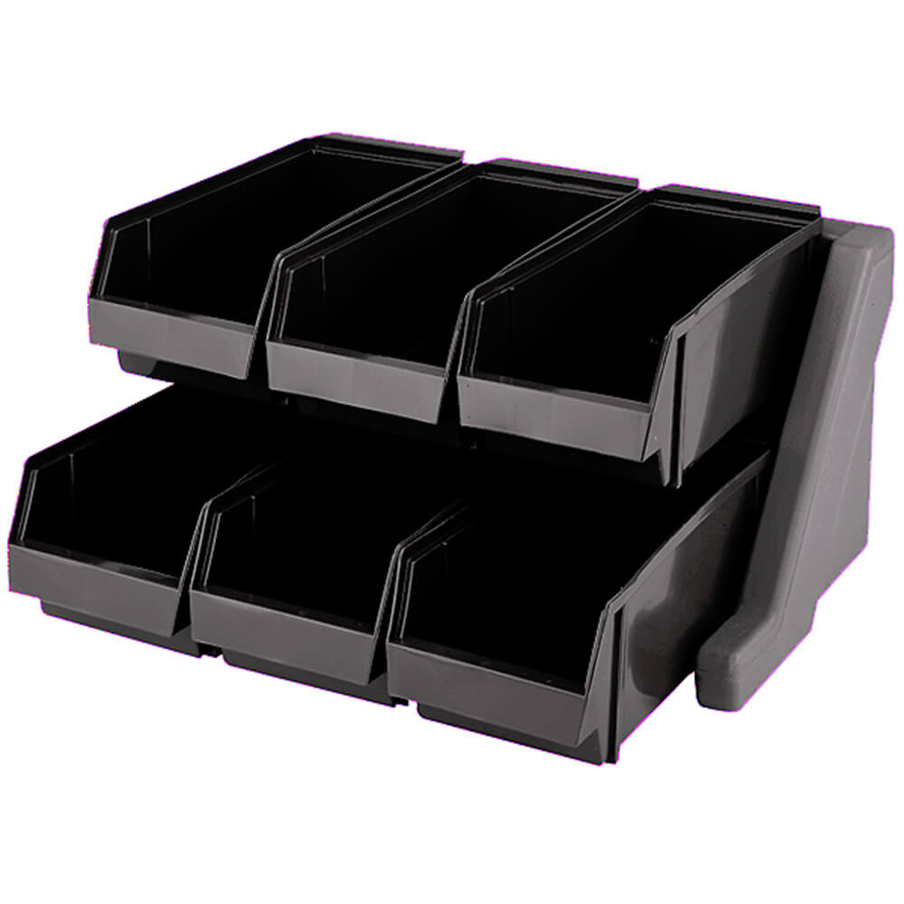 Black, Condiment Holder with 6 Bins