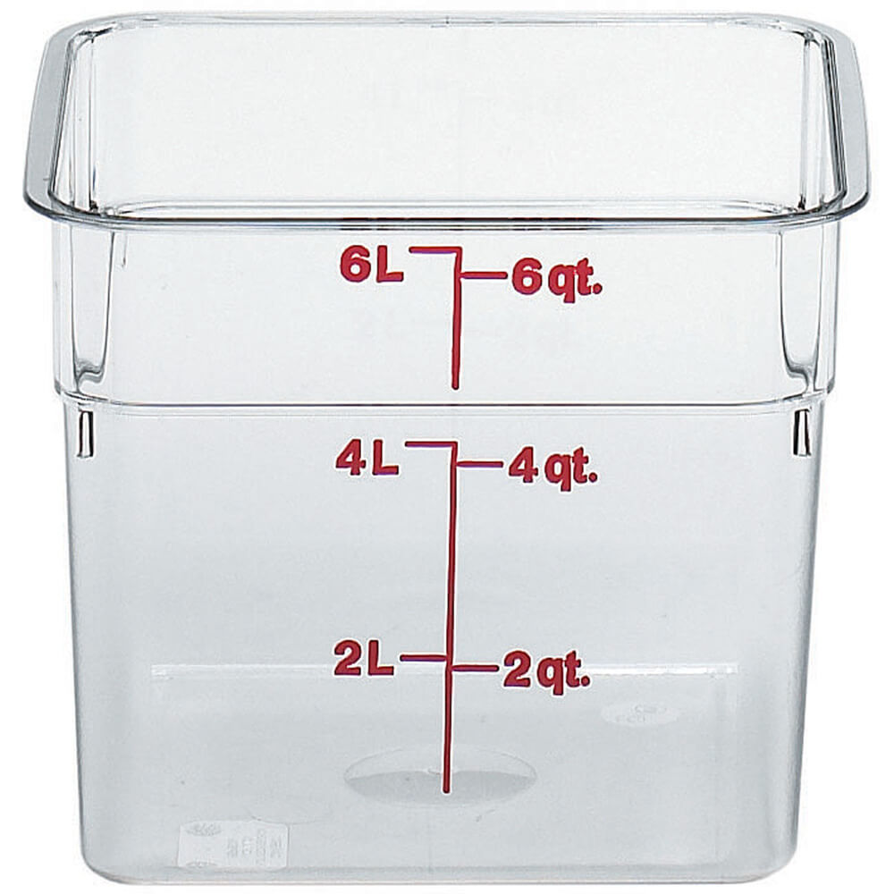 Clear, 6 Qt. CamSquare Food Storage Containers, 6/PK