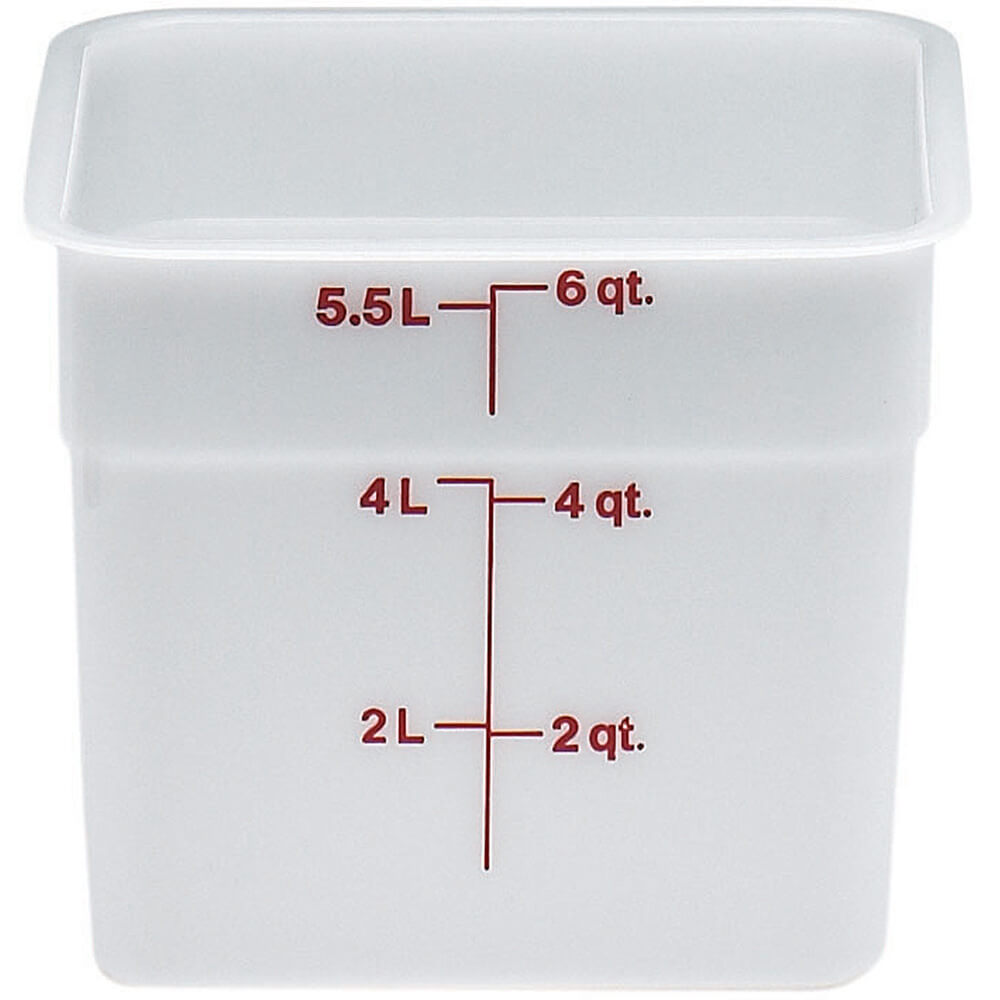 White, 6 Qt. Poly Food Storage Containers, 6/PK