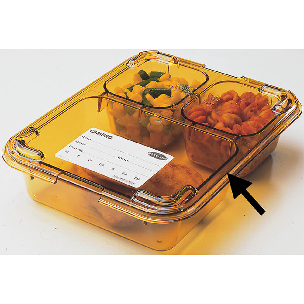 Amber, 3-Compartment Heat Resistant Insert Tray, 24/PK
