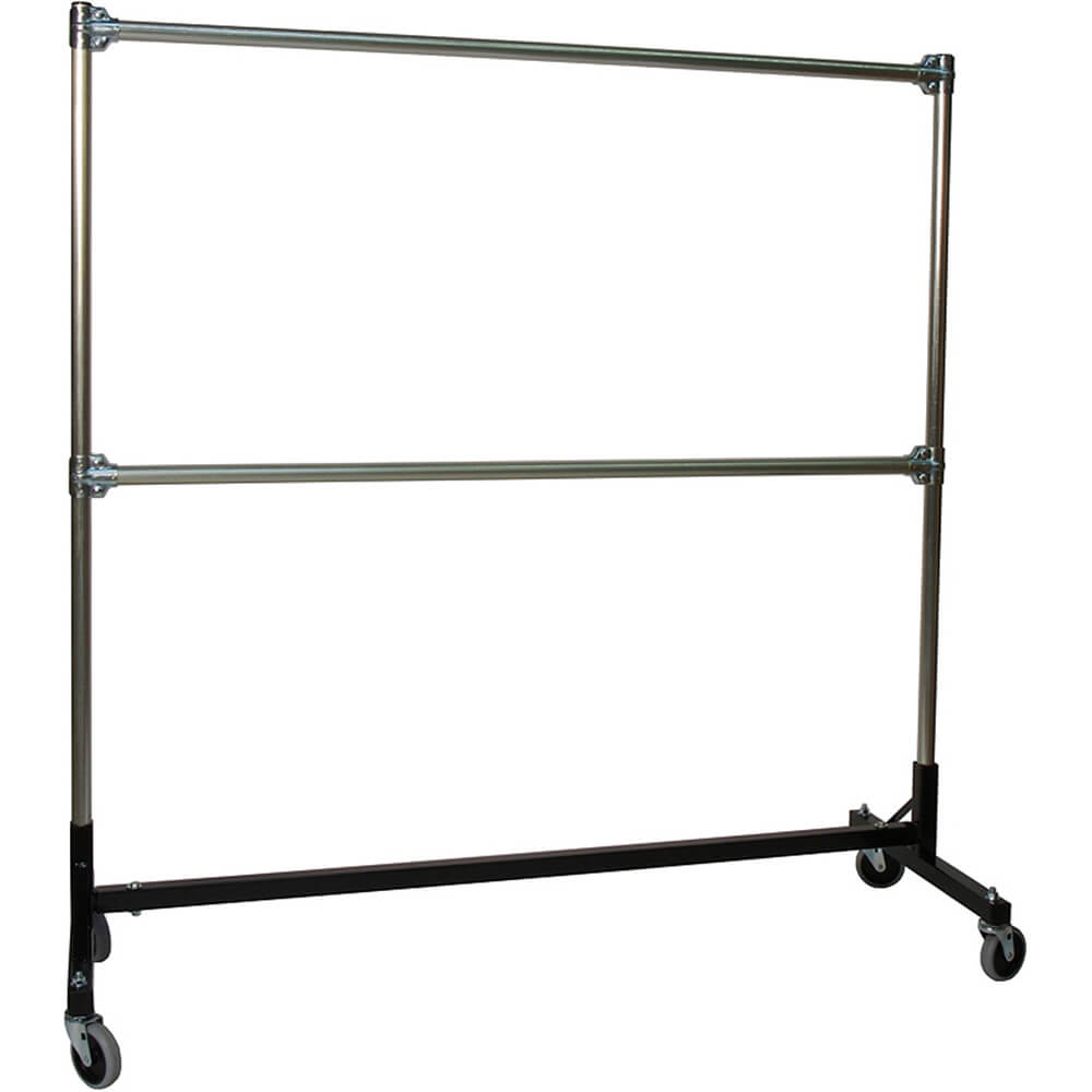 "Black, Heavy Duty H-Rack, Clothes Rack, Double Rail W/ 60"" Uprights"