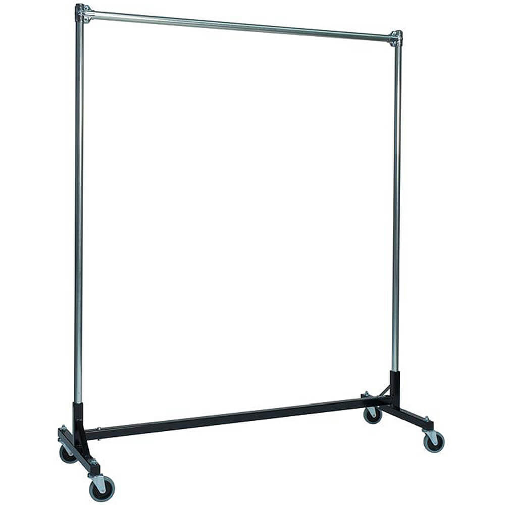 "Black, Heavy Duty H-Rack, Clothes Rack, Single Rail W/ 72"" Uprights"