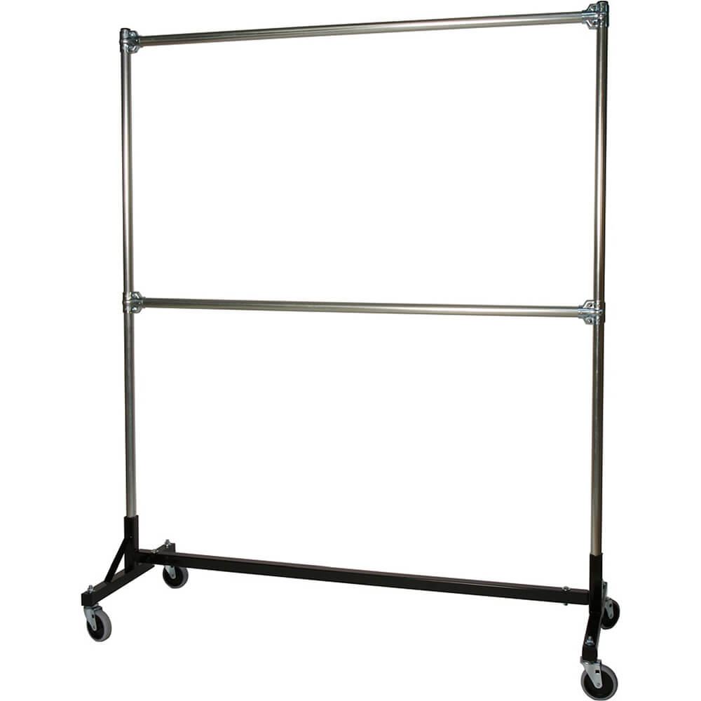 "Black, Heavy Duty H-Rack, Clothes Rack, Double Rail W/ 72"" Uprights"