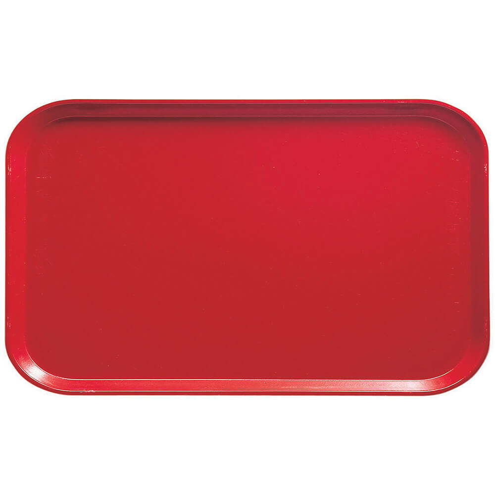 "Signal Red, 8-3/4"" x 15"" Food Trays, Fiberglass, 12/PK"
