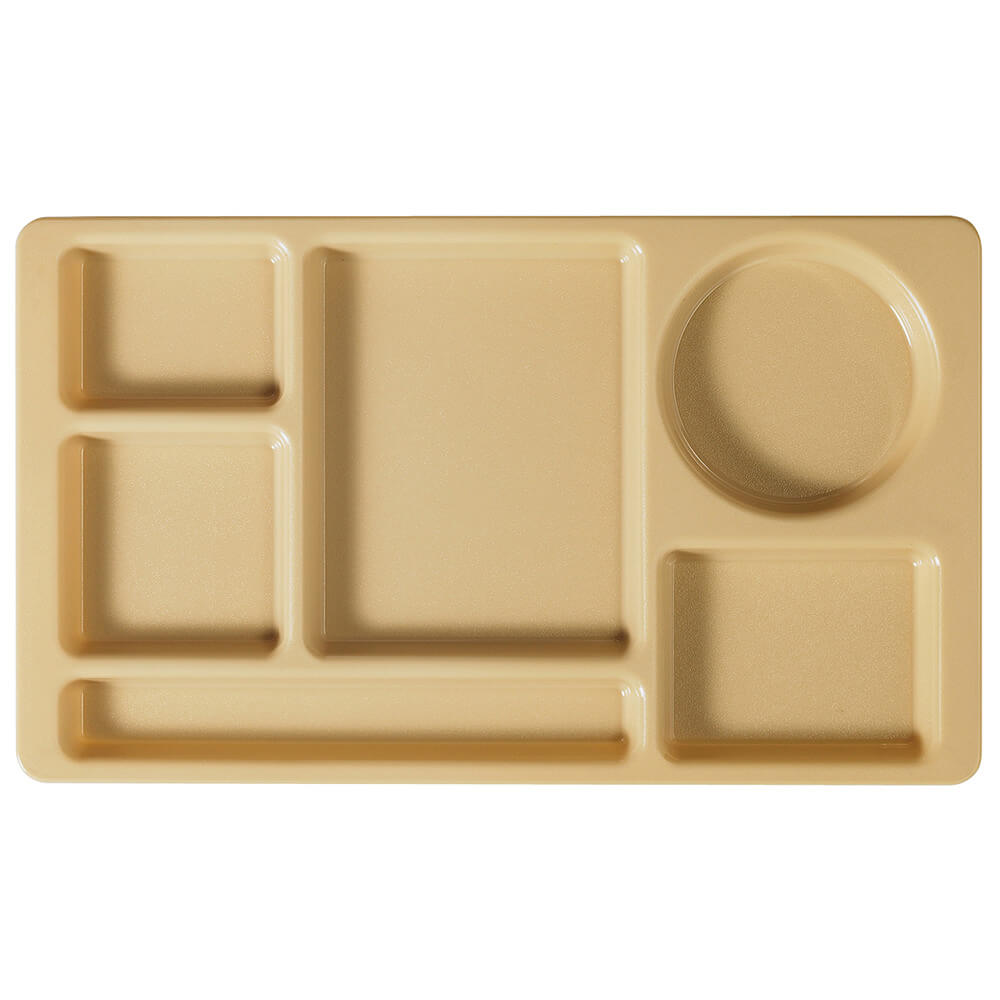 Beige, 2x2 Polycarbonate 6-Compartment Cafeteria Trays 24/PK