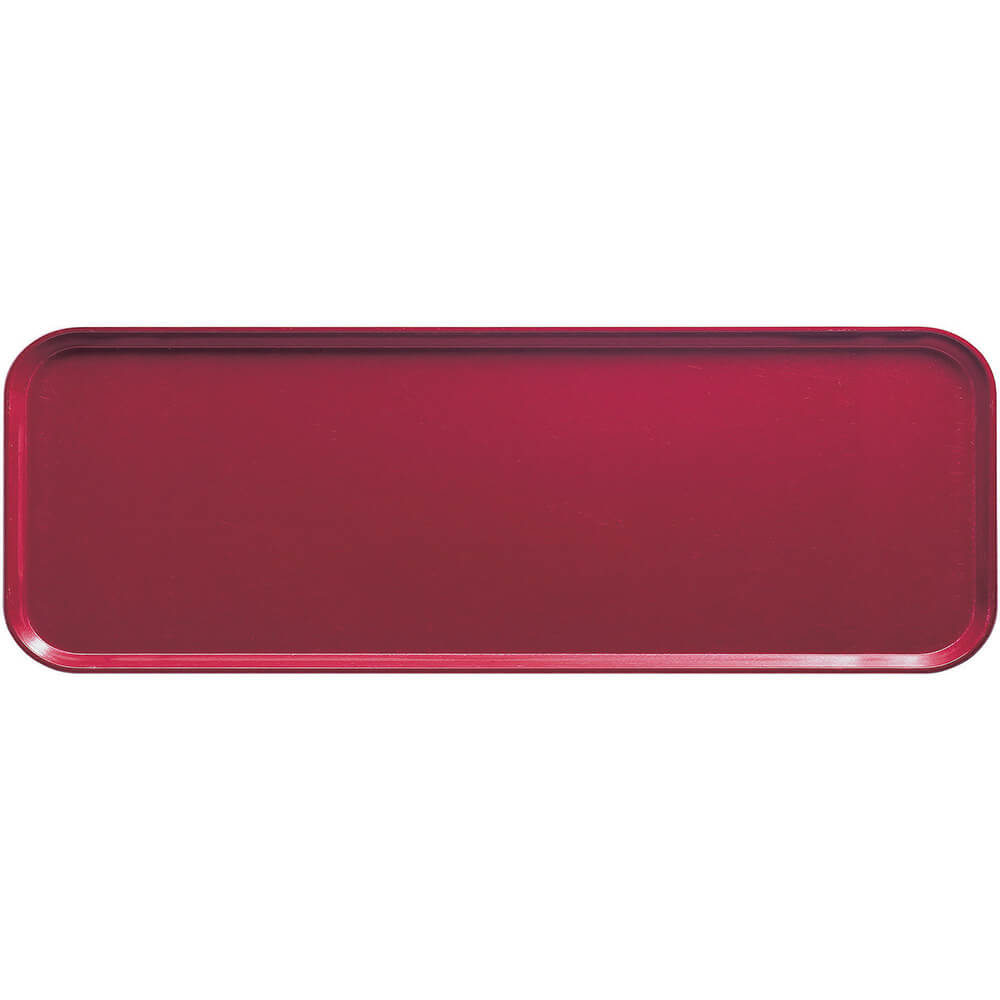 "Cherry Red, 9"" x 26"" x 1"" Food Trays, Fiberglass, 12/PK"
