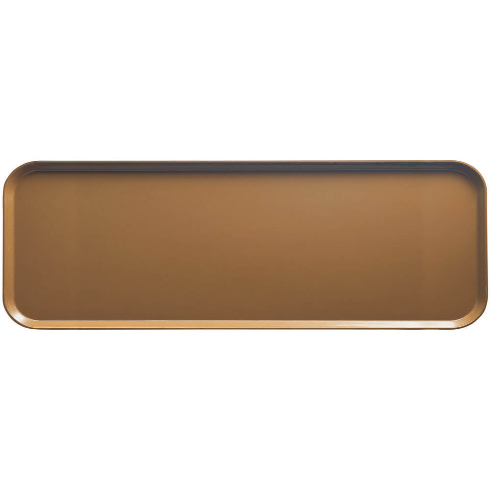 "Suede Brown, 9"" x 26"" x 1"" Food Trays, Fiberglass, 12/PK"