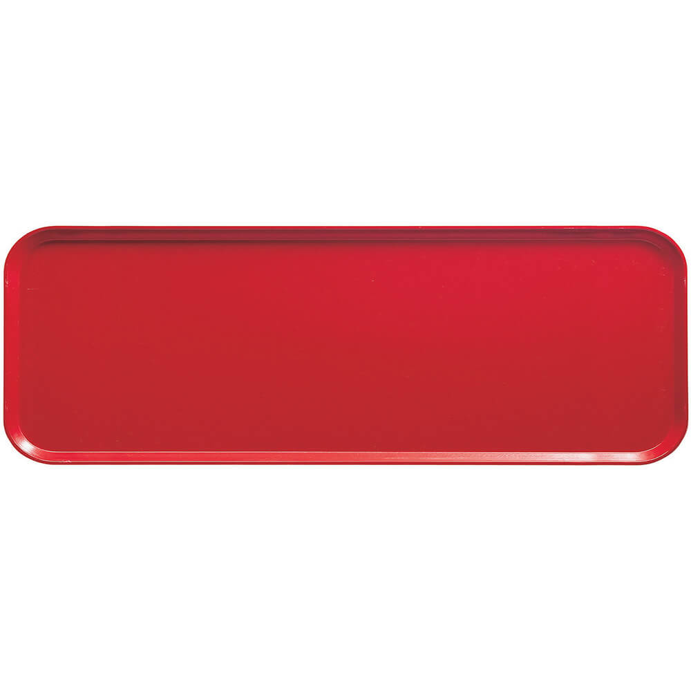 "Signal Red, 9"" x 26"" x 1"" Food Trays, Fiberglass, 12/PK"