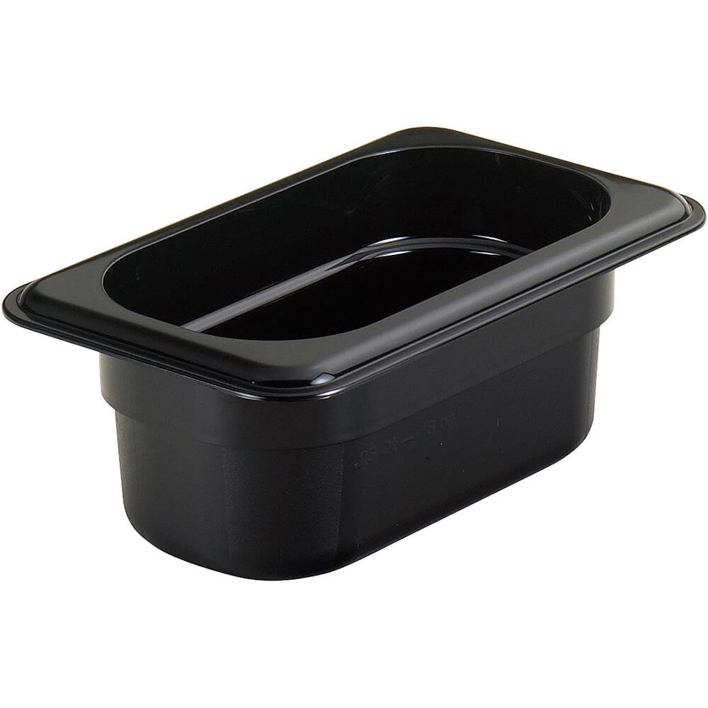 "Black, 1/9 GN High Heat Food Pan, 2 1/2"" Deep, 6/PK"
