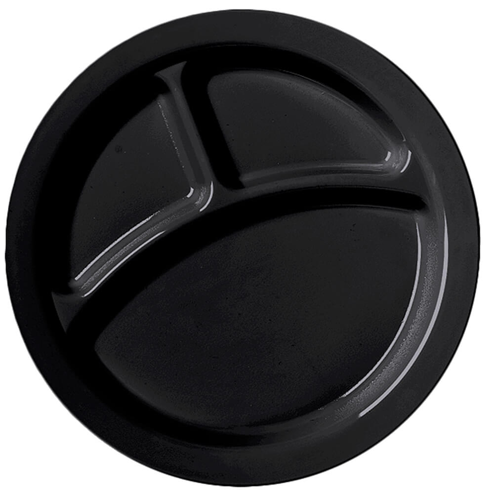 "Black, 9"" Compartment Plates, Unbreakable Dinnerware 48/PK"