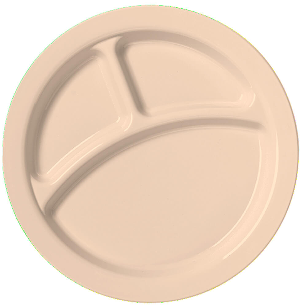 "Beige, 9"" Compartment Plates, Unbreakable Dinnerware 48/PK"