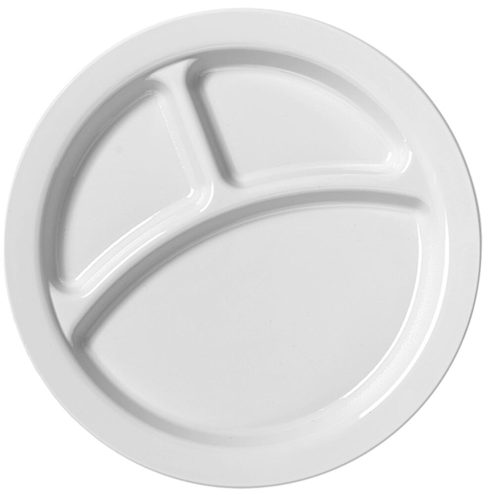 "White, 9"" Compartment Plates, Unbreakable Dinnerware 48/PK"