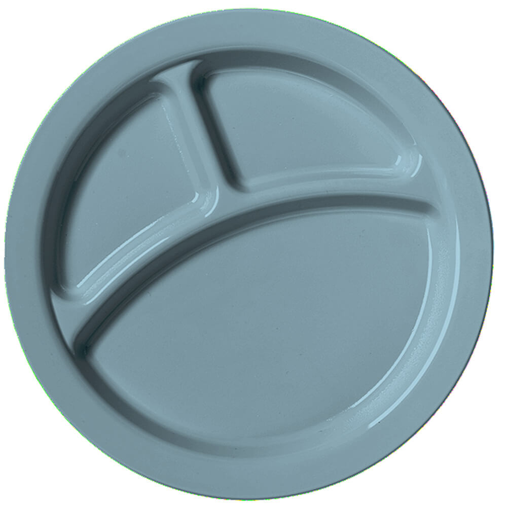 "Slate Blue, 9"" Compartment Plates, Unbreakable Dinnerware 48/PK"