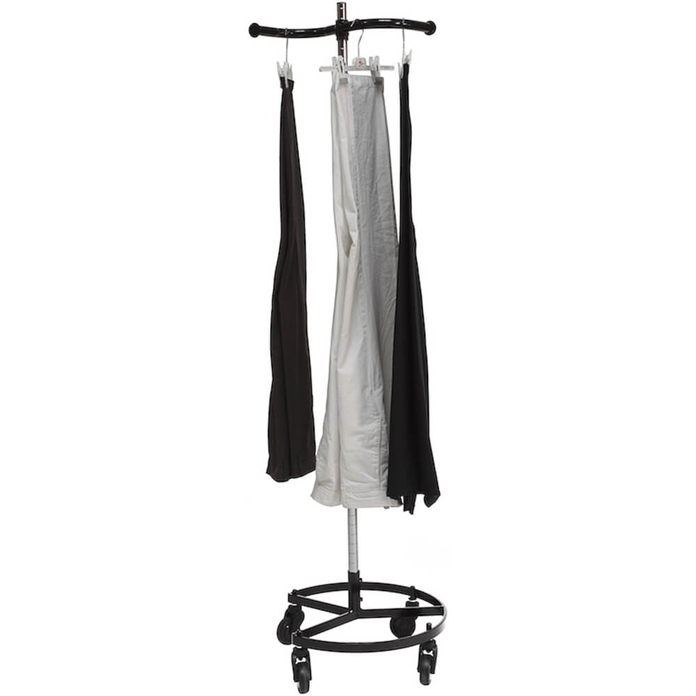 Black, Personal Valet Garment Rack W/ Single Adjustable Rail View 2