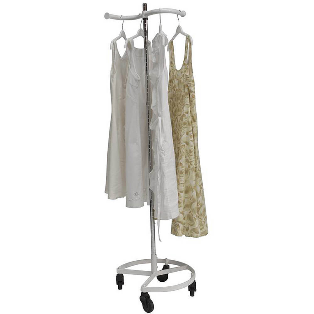 White, Personal Valet Garment Rack W/ Single Adjustable Rail View 2