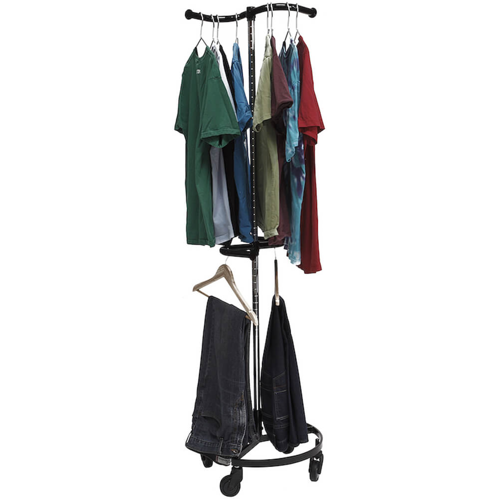 Black, Personal Valet Garment Rack W/ Double Adjustable Rail View 2