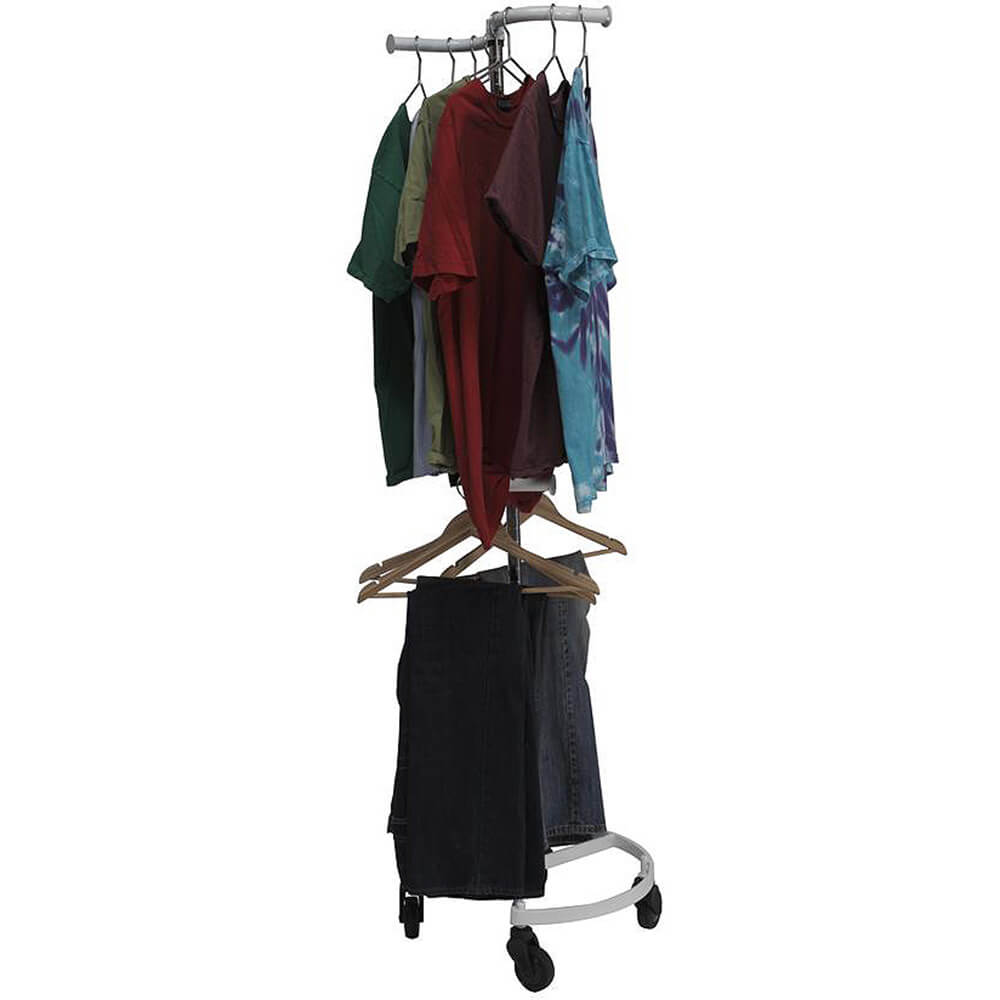 White, Personal Valet Garment Rack W/ Double Adjustable Rail View 2