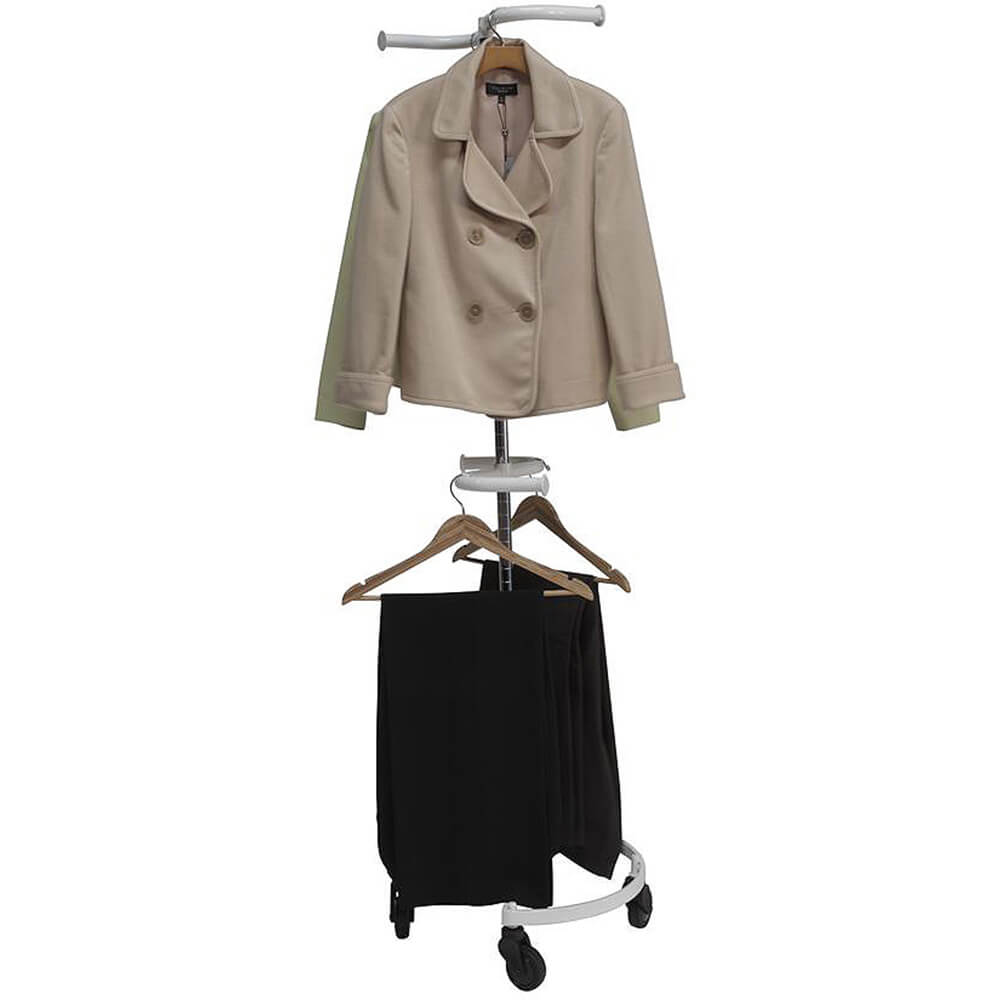 White, Personal Valet Garment Rack W/ Double Adjustable Rail View 3
