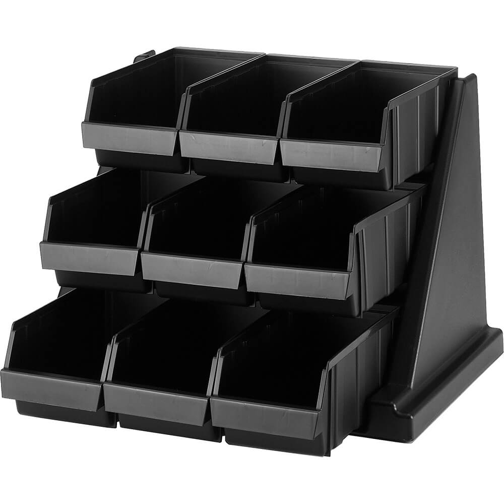 Black, Condiment Holder with 9 Bins View 2