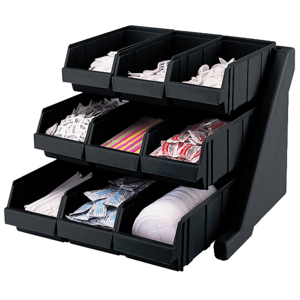 Black, Condiment Holder with 9 Bins