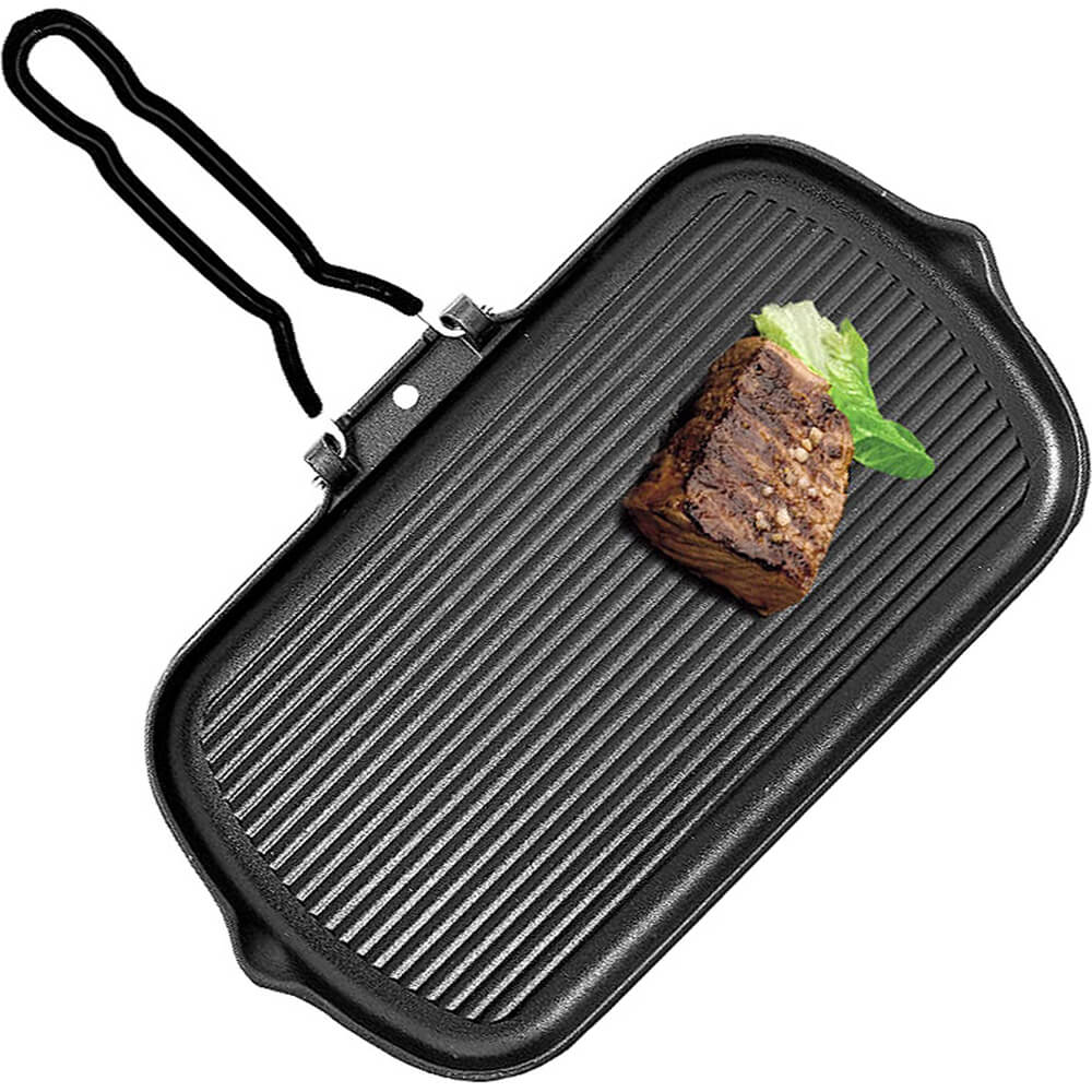 Black, Cast Iron Rectangular Grill, 2 Pouring Spouts and Folding Handle View 2