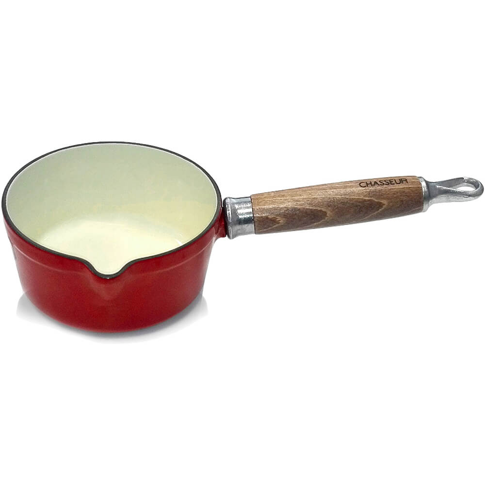Red, Cast Iron Saucepan with Spout, Wood Handle, 0.75 Qt