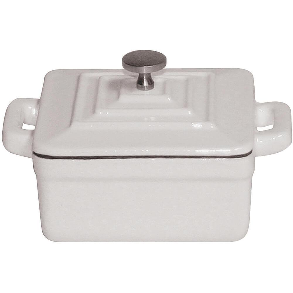 """White, Cast Iron Square Dutch Oven W/ Lid 3.75"""""""