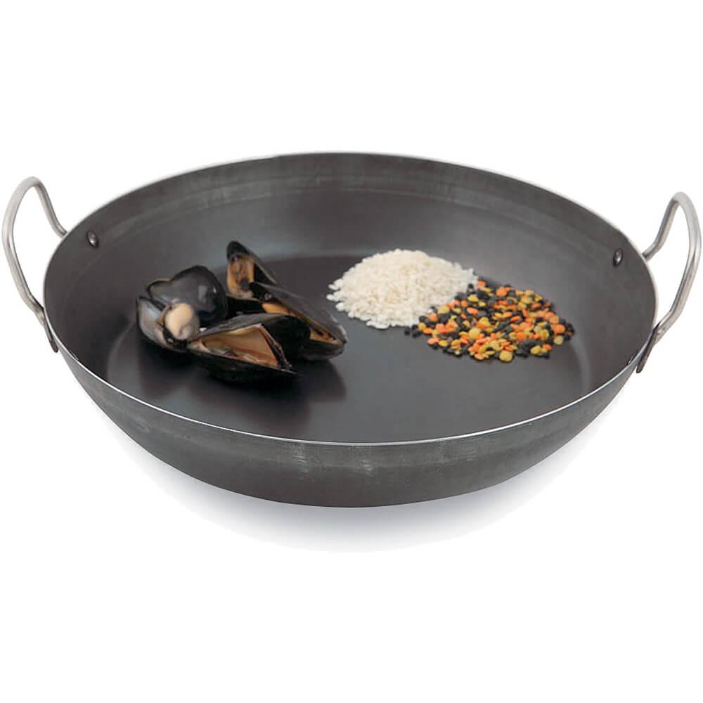 """Carbon Steel Black Steel Paella Pan, 9.5"""""""