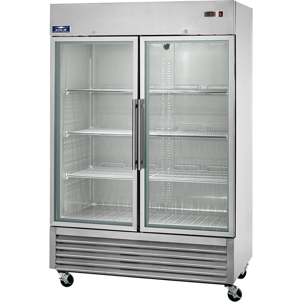 Arctic Air Stainless Steel Commercial Glass Door Refrigerator